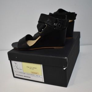 New Rag & Bone Black Damien Wedge Size 7